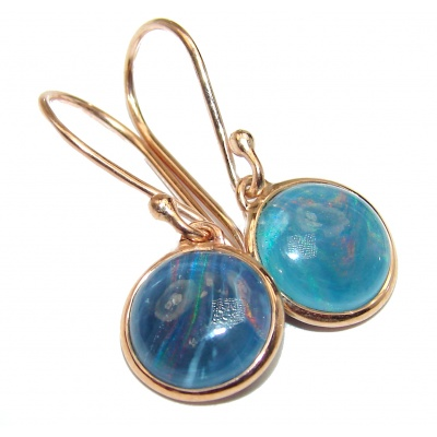Classy Design Doublet Opal Gold over .925 Sterling Silver handmade earrings