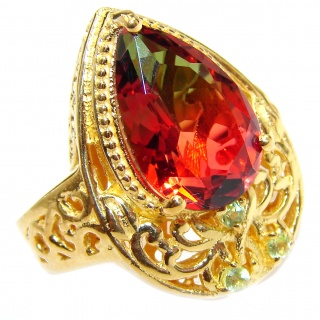HUGE Top Quality Magic Volcanic Tourmaline Topaz 18K Gold over .925 Sterling Silver handcrafted Ring s. 7 1/4