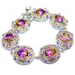 Luxury over cut Ametrine 18K Gold over .925 Sterling Silver handmade Bracelet