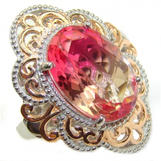 Huge Top Quality Volcanic Pink Tourmaline 18 K Gold over .925 Sterling Silver handcrafted Ring s. 7 1/4