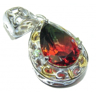 Deluxe pear cut Pink Watermelon Tourmaline .925 Sterling Silver handmade Pendant