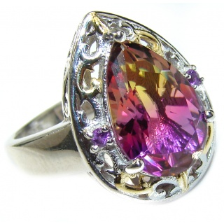 HUGE emerald cut Ametrine 18K Gold over .925 Sterling Silver handcrafted Ring s. 8
