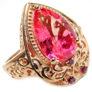 HUGE Top Quality Magic Volcanic Pink Topaz 18K Gold over .925 Sterling Silver handcrafted Ring s. 9 1/4