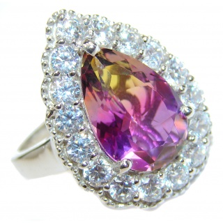 HUGE pear cut Ametrine .925 Sterling Silver handcrafted Ring s. 7 3/4