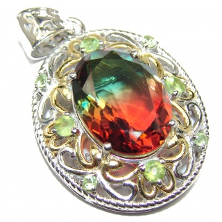 Deluxe oval cut Pink Watermelon Tourmaline .925 Sterling Silver handmade Pendant