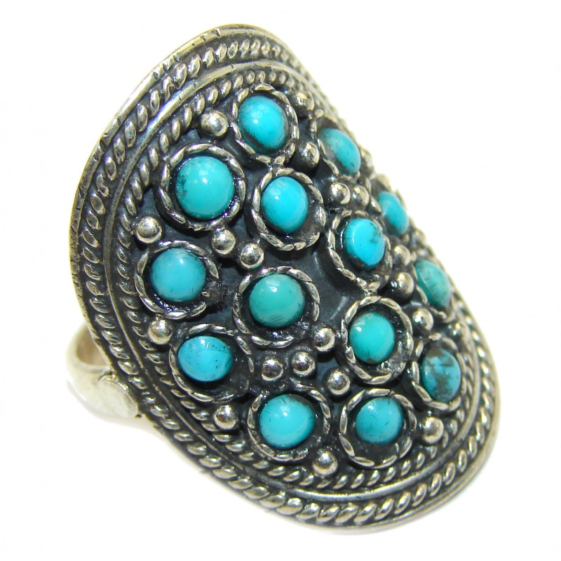 Natural Turquoise .925 Sterling Silver handmade ring s. 9 1/4