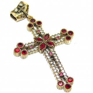 Pure In Heart created Pink Ruby .925 Sterling Silver Pendant / Cross