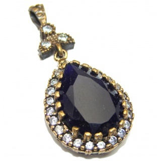 created Sapphire Gold over .925 Sterling Silver handmade Pendant