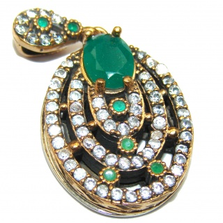 Vintage Style Emerald color Quartz .925 Sterling Silver Pendant