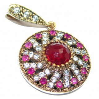 Vintage Style Ruby .925 Sterling Silver handmade Pendant
