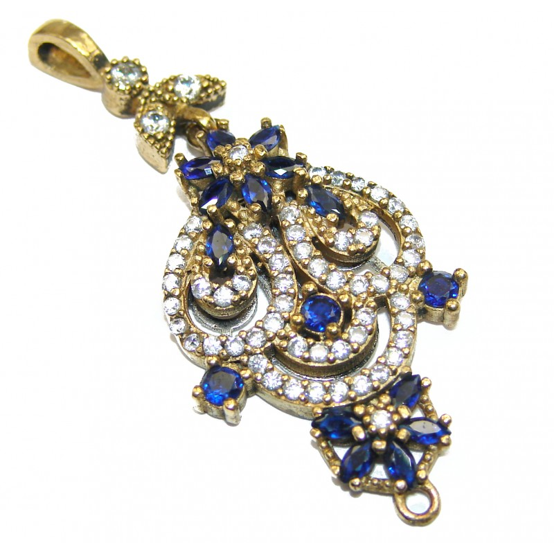 Beautiful created Sapphire Gold over .925 Sterling Silver handmade Pendant