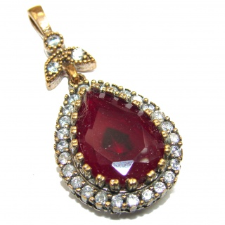 Vintage Style created Ruby .925 Sterling Silver handmade Pendant