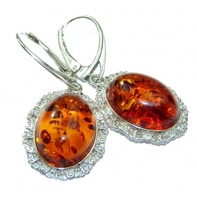 Exclusive Polish Amber .925 Sterling Silver handmade Earrings