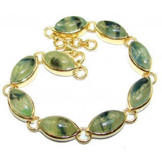 Natural Moss Prehnite 18K Gold over .925 Sterling Silver handmade Bracelet