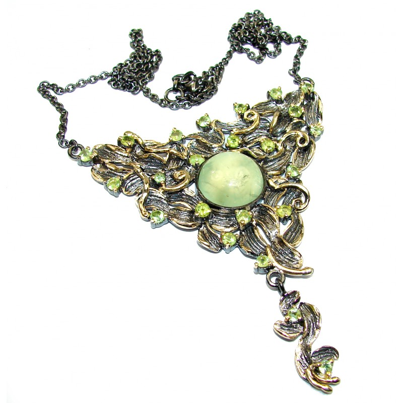 Magic Garden Genuine Moss Prehnite 18K Gold over .925 Sterling Silver handmade necklace