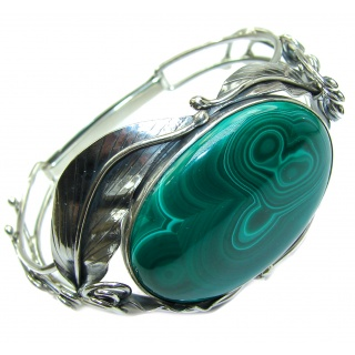 H U G E Stunning genuine Malachite .925 Sterling Silver handcrafted Bracelet