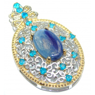 Just Beautiful genuine Kyanite 18K Gold over .925 Sterling Silver handcrafted Pendant