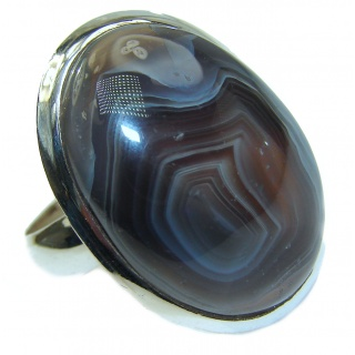 Exotic Botswana Agate Sterling Silver Ring s. 8