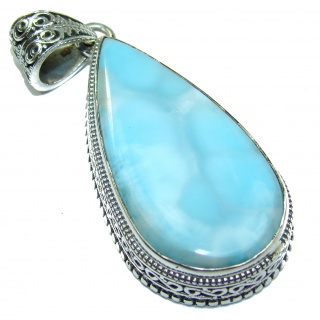 Perfectly Blue Caribbean Larimar .925 Sterling Silver handmade pendant