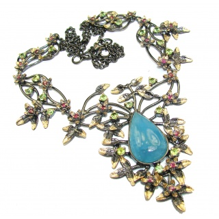 Secret Beauty Blue Aquamarine 18K Gold over .925 Sterling Silver handcrafted necklace