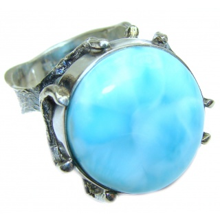 Vintage Design Natural Larimar .925 Sterling Silver handcrafted Ring s. 9