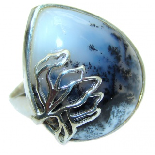 Top Quality Dendritic Agate .925 Sterling Silver hancrafted Ring s. 7 1/4