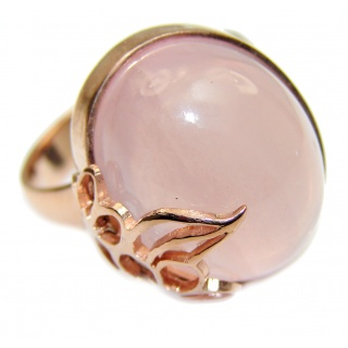 Authentic Rose Quartz 18K Gold over .925 Sterling Silver handcrafted ring s. 8 1/4