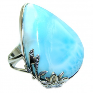 LARGE Natural Larimar .925 Sterling Silver handcrafted Ring s. 7 adjustable