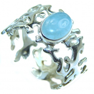 Antique Design Blue Aquamarine .925 Sterling Silver handmade ring s. 8 adjustable