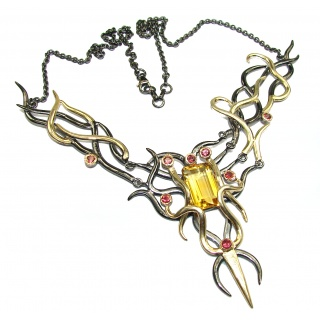 Luxurious Natural Rich Yellow Citrine Two Tones .925 Sterling Silver handcrafted Necklace