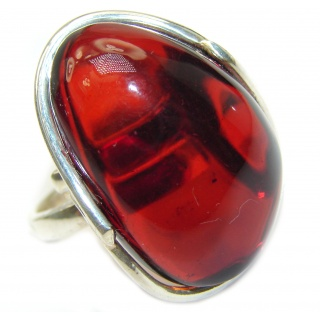 Excellent Cherry Amber Sterling Silver Ring s. 8 adjustable