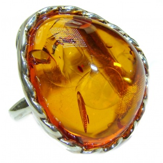 Excellent Golden Amber Sterling Silver Ring s. 8 adjustable