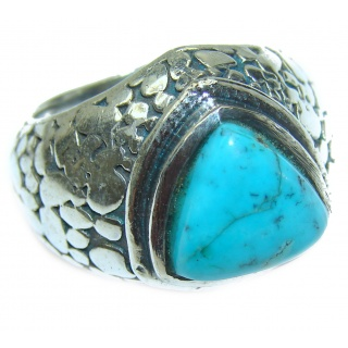 Natural Turquoise .925 Sterling Silver handmade ring s. 8 1/4
