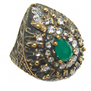 Victorian Style created Emerald & White Topaz Copper over Sterling Silver ring; s. 7