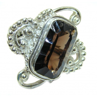 Authentic Smoky Topaz .925 Sterling Silver handcrafted ring; s 7