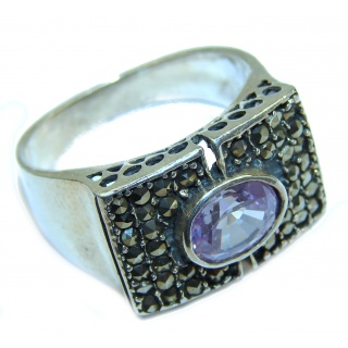 Huge Natural Amethyst .925 Sterling Silver handmade Cocktail Ring s. 9 1/4