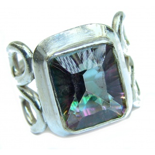 Huge Exotic Magic Topaz .925 Sterling Silver handcrafted Ring s. 7