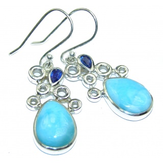Blue Larimar & Kyanite .925 Sterling Silver handcrafted earrings