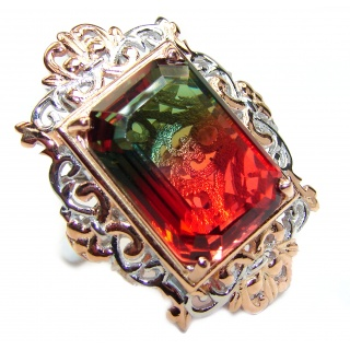 HUGE Emerald cut Watermelon Tourmaline color Topaz 18 K Gold over .925 Sterling Silver handcrafted Ring s. 8 1/4