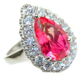 Genuine 25ct Pink Tourmaline .925 Sterling Silver handcrafted ring; s. 8