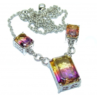 Emerald cut Ametrine .925 Sterling Silver handcrafted necklace