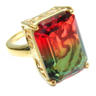 HUGE Top Quality Magic Volcanic Tourmaline color Topaz .925 Sterling Silver handcrafted Ring s. 6 1/2