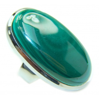 Natural Sublime quality Malachite .925 Sterling Silver handcrafted ring size 6 3/4