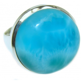 PERFECTION Natural Larimar .925 Sterling Silver handcrafted Ring s. 9
