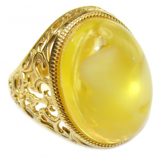 HUGE authentic Baltic Amber 18K Gold over .925 Sterling Silver handcrafted ring; s. 7 adjustable