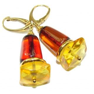 Large Genuine Baltic Amber 18k Gold over .925 Sterling Silver handcrafted Earrings