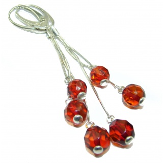 long Exclusive Polish Amber .925 Sterling Silver handmade Earrings