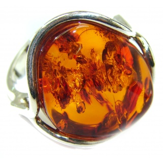 Excellent Authentic Baltic Amber Sterling Silver Ring s. 8 adjustable