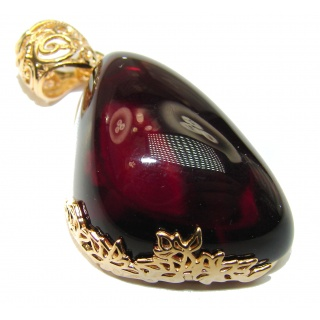 BEST QUALITY Natural Baltic Cherry Amber 18K Gold over .925 Sterling Silver handmade Pendant