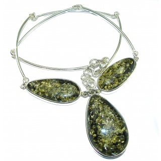 Bohemian Style Natural Green Baltic Amber .925 Sterling Silver handcrafted necklace